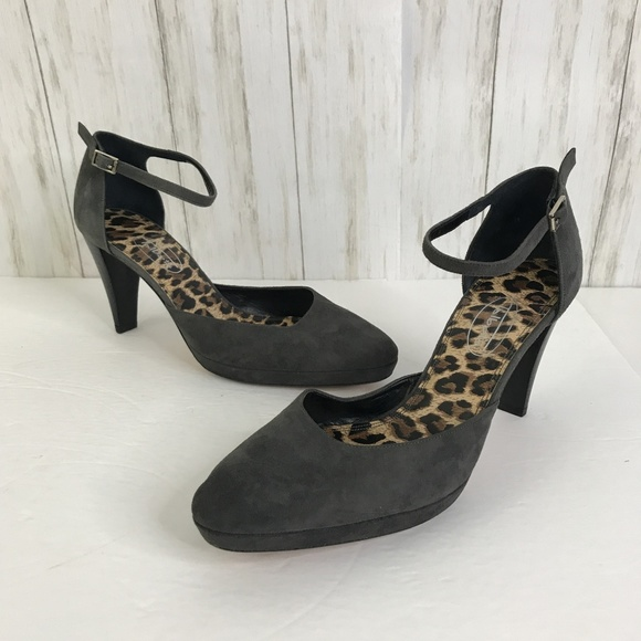 Talbots Shoes - Talbots Gray Suede Mary Jane Heels Size 8 M